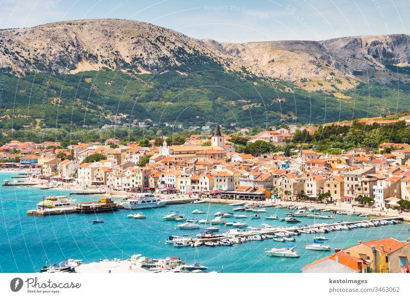 Baska, Krk, Croatia, Europe. baska krk croatia island kvarner adriatic beach sea bay destination summer tourist harbor travel architecture mediterranean town
