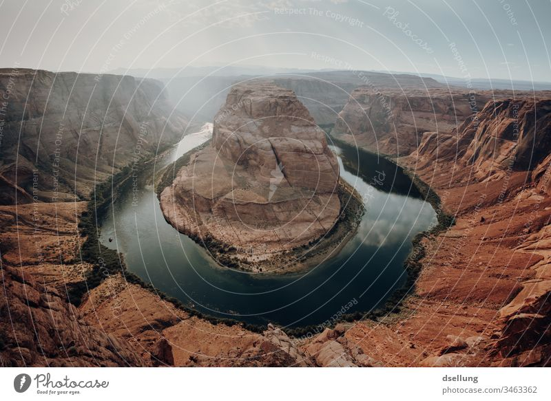 The Horseshoe Bend in Arizona in good weather Shadow Light Orange Desert Clouds Hiking Tourism Freedom Glen Canyon Elements Earth Drought Discover Wanderlust