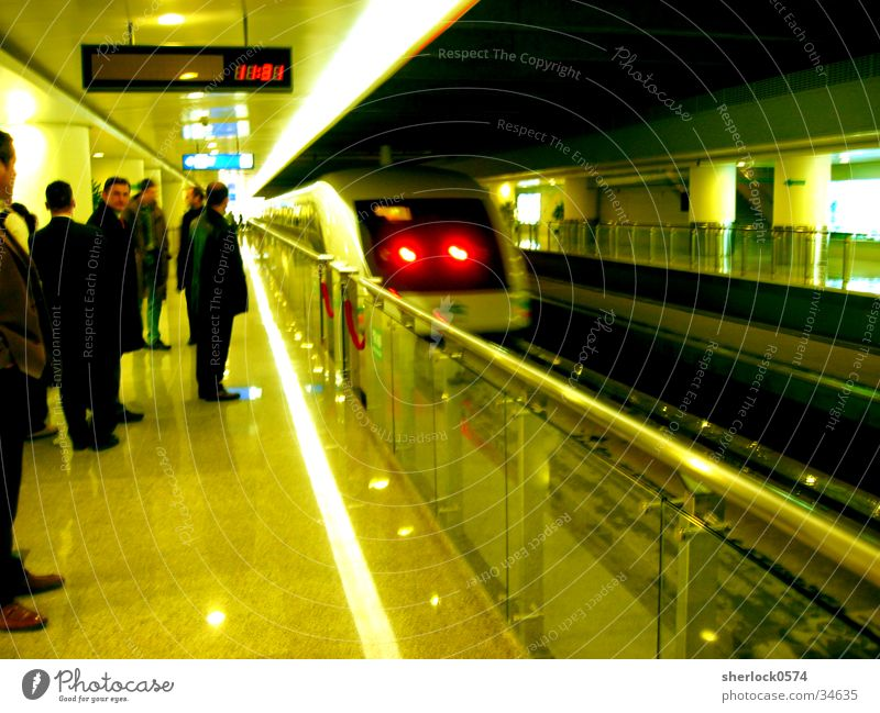 Transport Wait Speed Clean Handrail Asia China Train station Station Display Passenger Rear light Shanghai Suspension railway Station clock Maglev train