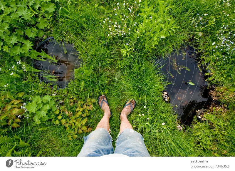 Human being Nature Water Summer Plant Relaxation Flower Environment Meadow Grass Blossom Legs Garden Feet Park Masculine