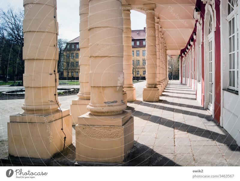 Colonnades columns Lock Corridor take a stroll representative Architecture Building Deserted Shadow Light Old Manmade structures Tourist Attraction Historic