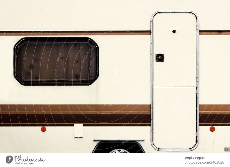 old caravan Caravan Camping Vacation & Travel Colour photo Exterior shot Leisure and hobbies Living or residing Camping site Relaxation Door Window Freedom Trip