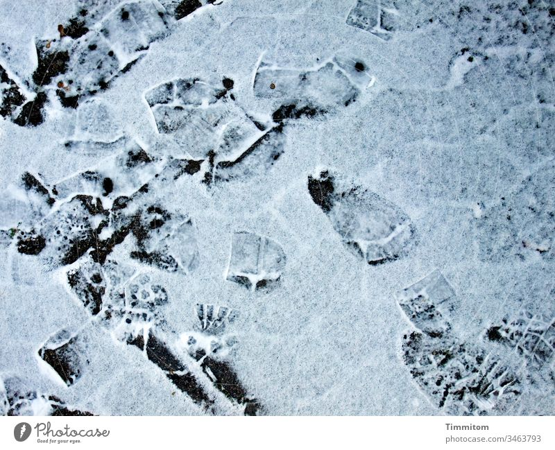 Cool tracks Winter Snow Frost Tracks prints Footprint Soles chill White Deserted Lanes & trails Paving stone
