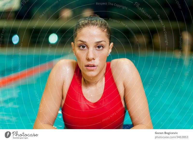 Young woman in the pool active activity adult being care caucasian competition competitive concentration exercise female fitness girl health healthcare healthy