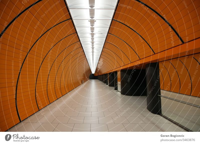 Munich subway station arch architecture change city color coloured empty future futuristic indoors interior journey life light lines luminous metro modern