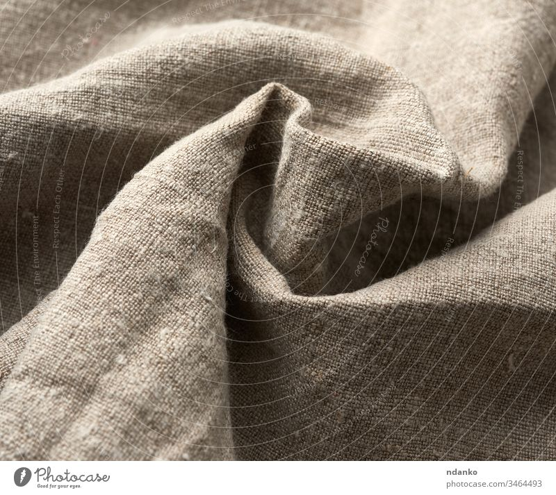 twisted very old  gray linen fabric, full frame, rough antique canvas abstract backdrop background blank clean closeup cloth clothing color cotton decoration