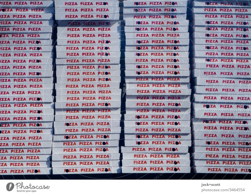 many pizza boxes ready to be picked up Pizza Italian Food Fast food Dinner Lunch Boxes Many Typography upper-case letters stacked storage Stack Nutrition