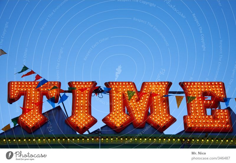 Time change. Entertainment Cloudless sky Beautiful weather Orange Red Typography Neon light Fairs & Carnivals Neon sign Letters (alphabet) Flag Characters