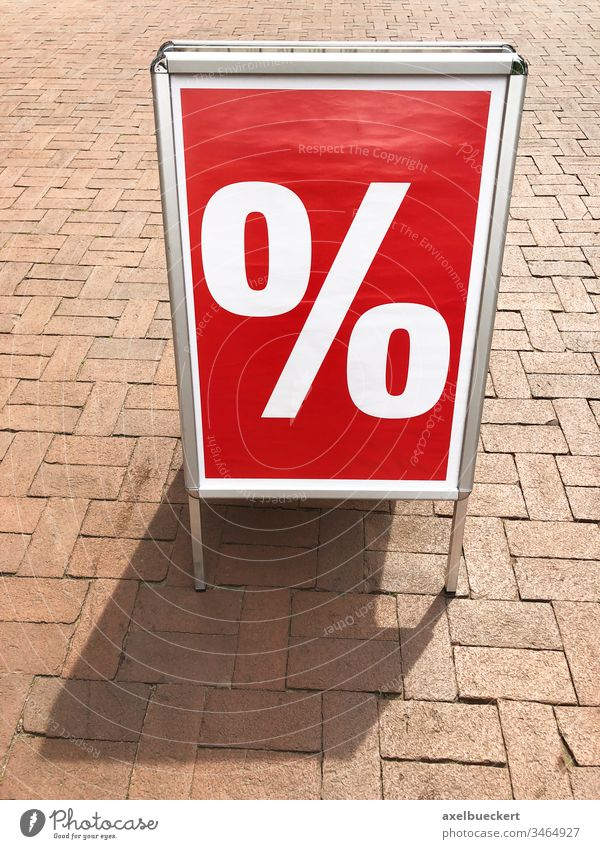 customer stopper sign advertising sale percent shopping board marketing symbol discount red percentage object retail a-frame standee stand-up display panel