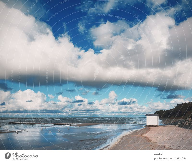 the White House Beach Baltic Sea Poland Coast Maritime Sky Clouds Elements Air Water Waves wide Sand Sandy beach Idyll Blue Hut Small cabin Lonely Doomed
