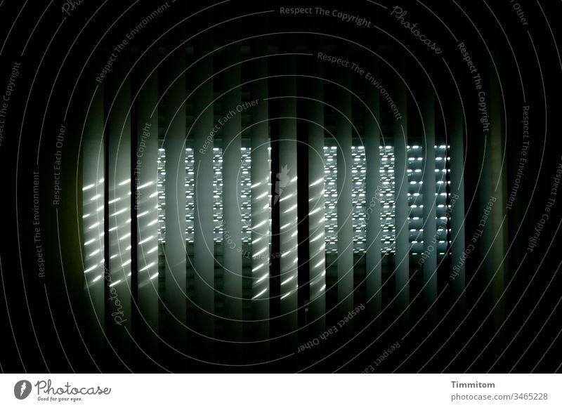 Light through lamella curtain and roller shutter slats Shaft of light Window Pattern darkness ardor lines Lighting effect Day Interior shot Venetian blinds