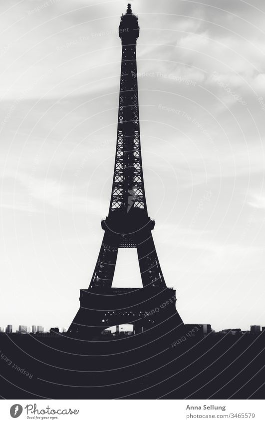 Eiffel Tower as silhouette in black and white eiffel tower Paris Historic Architecture Landmark Monument Town Manmade structures Steel Tourism Deserted