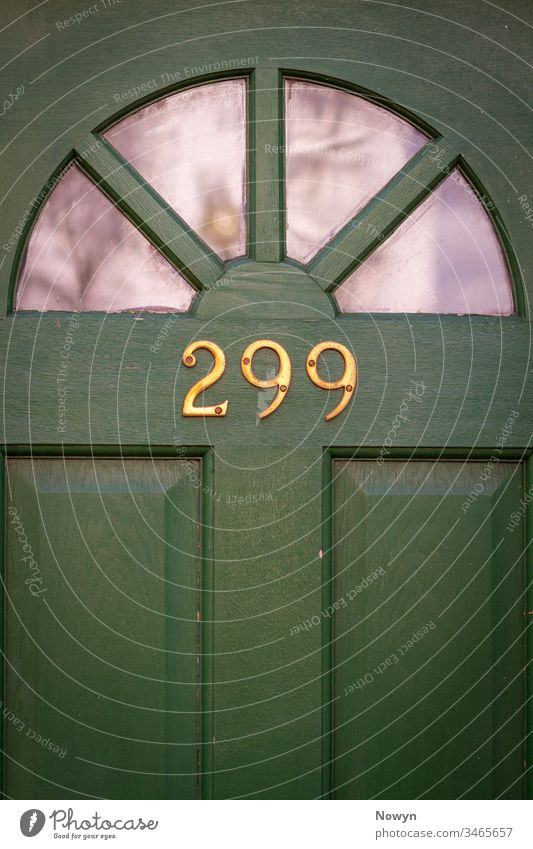 House number 299 on a green wooden front door with glass panels SEMIcircle address britain classic classy close up closeup decoration design detail digit digits
