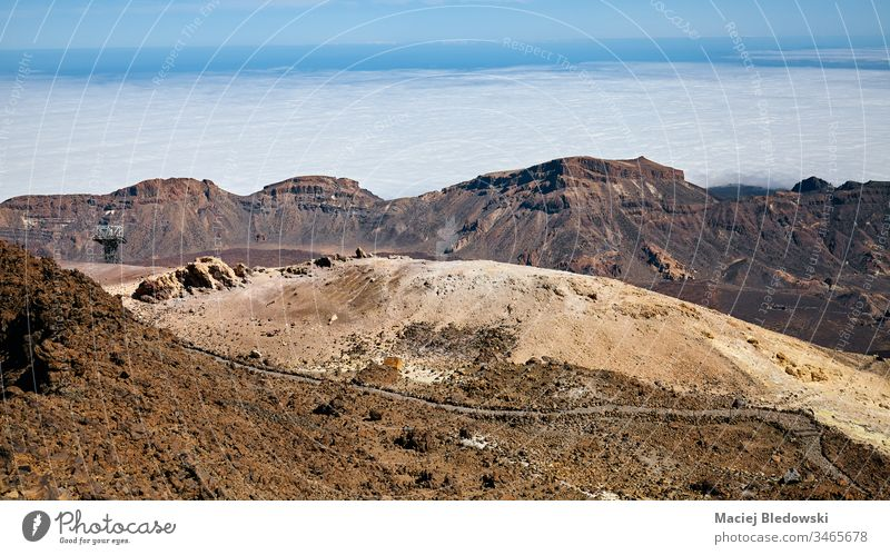 Volcanic landscape seen from Mount Teide, Tenerife, Spain. volcano arid deserted mountain pumice lava panorama scenery nature travel Canary Islands caldera