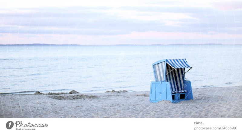 It smells like... salt and fish Baltic Sea Ocean Water Beach Sand Sky Beach chair Horizon Summer Waves vacation holidays travel Relaxation Blue Pink