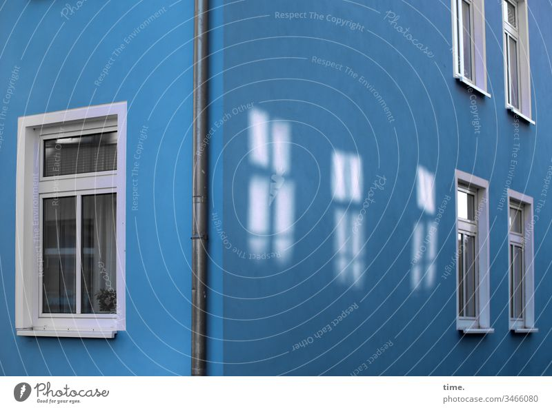cinema House (Residential Structure) Window Blue Wall (building) Downpipe Downspout reflection Patch of light somber discovery vivacious house corner urban