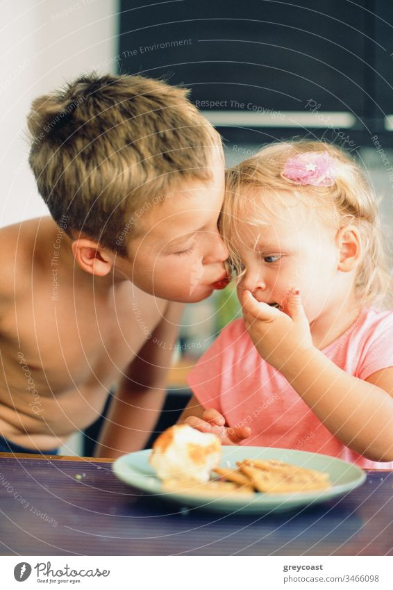 He always taking care of little sister and loves her very much. Brothers kiss for girl during the breakfast children cheek brother siblings boy morning meal kid