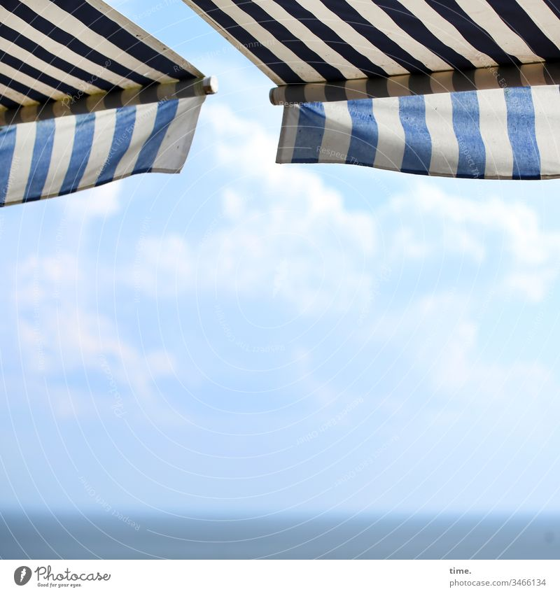 summer resort Sky Blue light blue Sky blue Summer Clouds discovery at the same time in common Orientation Beauty & Beauty Nature Baltic Sea Ocean Horizon