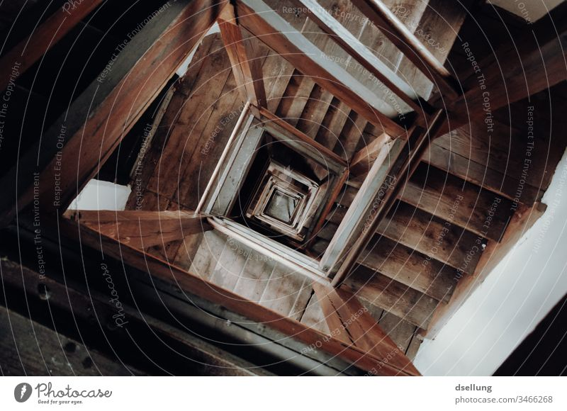 View down into the old staircase Downward Artificial light Evening Interior shot Colour photo Staircase (Hallway) Suicide Suicidal tendancy Moody Stairs