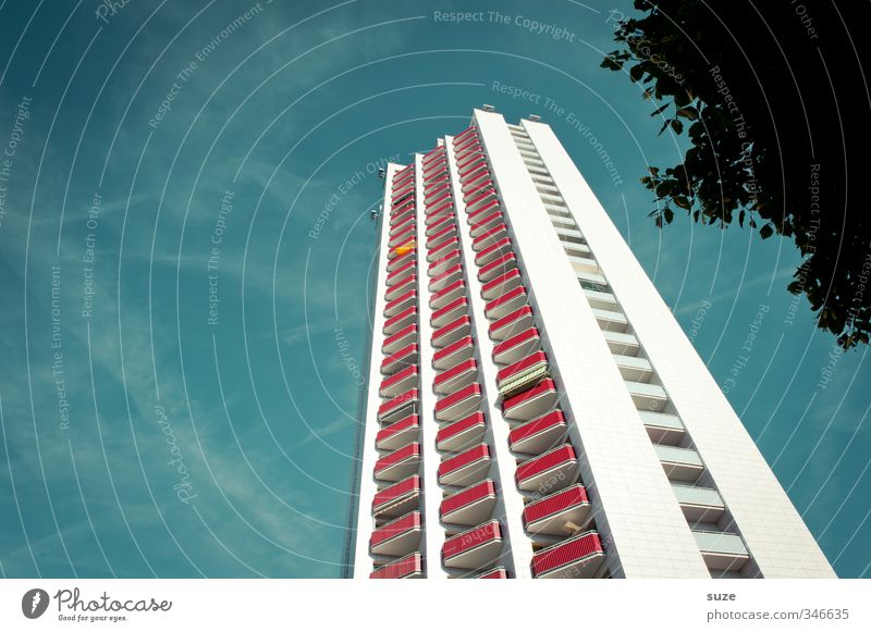 skyfall House (Residential Structure) Environment Sky Summer Weather Beautiful weather Tree High-rise Building Architecture Facade Balcony Window Landmark Tall