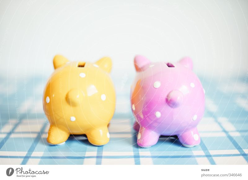 Blue Yellow Funny Happy Small Pink Lifestyle Design Poverty Decoration In pairs Cute Shopping Money Kitsch Plastic