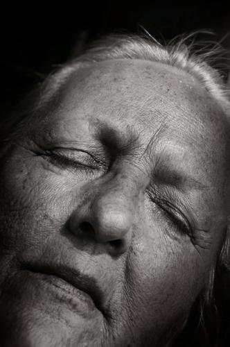 Grandmothers Remember Face Senior citizen White-haired wrinkled age 60 years and older Female senior Old Human being eyes closed Rest Sleep remembrances tired