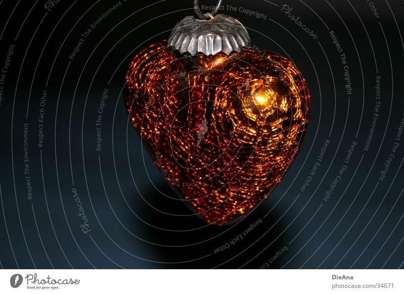 Christmas & Advent Blue Heart Glittering Gold Decoration Jewellery Cute Embellish Followers Bronze