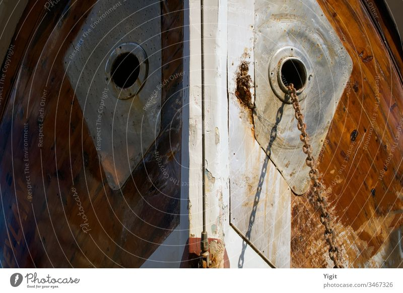Ship's Nose Detail from a Shipbuilding Yard abstract anchor anchor chain background brown closeup commerce concept conceptual image construction deck design