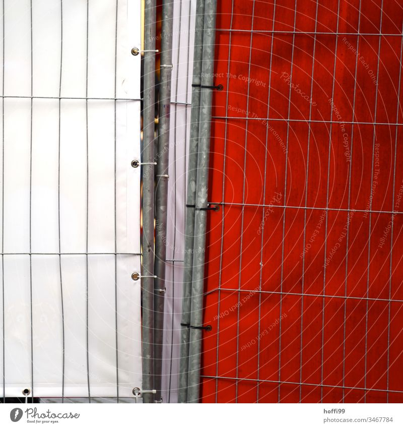 Barrier grid with red and white tarpaulin Red Protective Grating Cordon Protection Construction site Structures and shapes Wall (barrier) Safety Metal