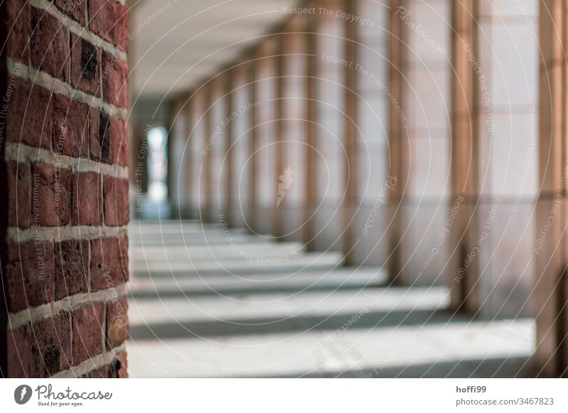 View into the arcades of the city Arcade Architecture Column Building Symmetry Facade Structures and shapes Elegant Vanishing point Old town brick red brick