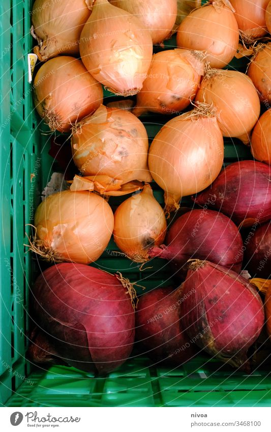 Onions in a basket Organic produce onions Food Vegetable Markets Basket Healthy Fresh Nutrition Vegetarian diet Colour photo Exterior shot Deserted Day Green