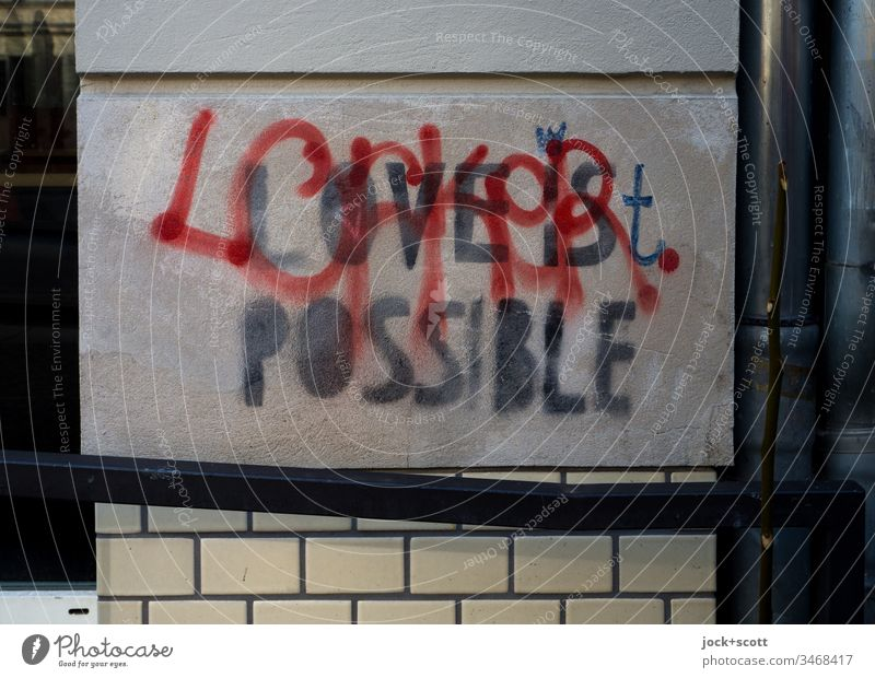 Love is possible dirty backdrop texture Abstract Dark gray street art Word English Stencil letters Spray Creativity Typography Moody Street art Subculture