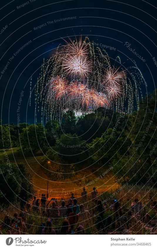A great, colorful firework with people having fun in foreground. fireworks park rockets happy party festival sky night long exposure colors sommernachtstraum