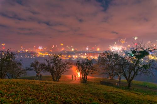 New Year's Eve Party with fireworks and the view at munich, bavaria. festival new year Explosion background abstract tree house Winter event night celebration