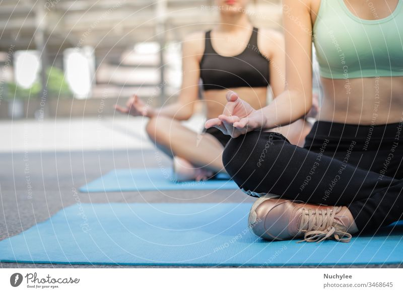 Young asian women wearing sportswear,  practicing yoga meditation with friend at outdoor, well being and wellness concept activity adult attractive beautiful