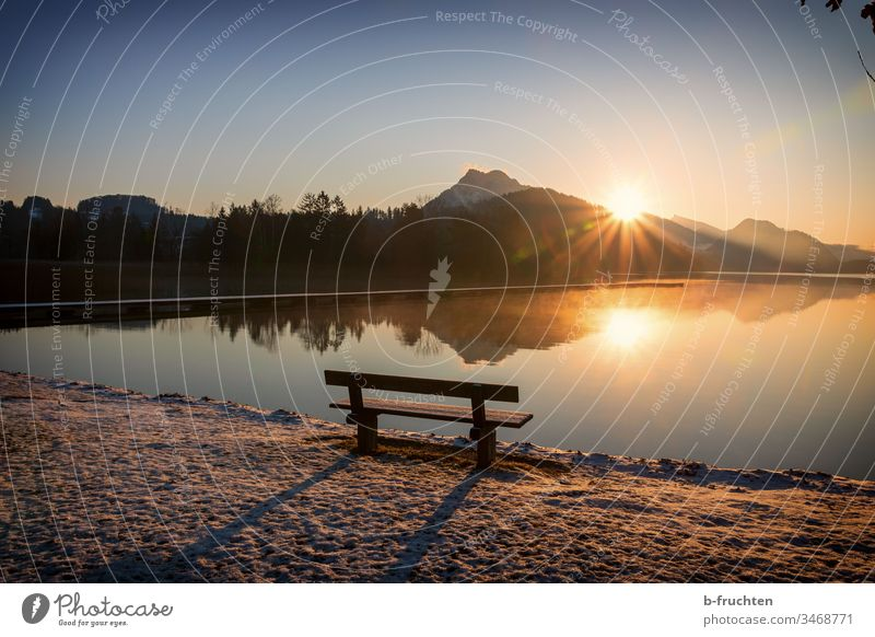 Park bench at the lake, morning mood with sunrise Landscape Sunrise Morning Moody Lake Nature Exterior shot Deserted Dawn Reflection Lakeside Environment Calm