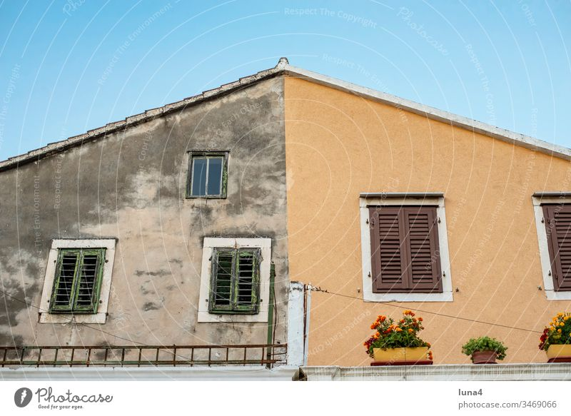 restored facade in the old town of Omis, Croatia House (Residential Structure) Facade Old New refurbishment Modern Venetian blinds Window Colour dilapidated