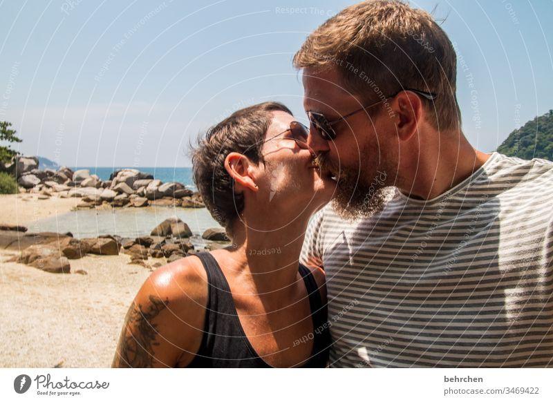 favourite person | to snog Joie de vivre (Vitality) Relationship Partner Infatuation Romance Ocean Man Woman Affection Sunglasses Exterior shot Adults