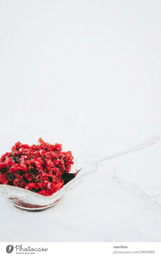 Delicious bowl of raspberry jelly dessert berries temptation food sweet healthy simple red gelatin delicious still life copy space flat lay flatlay strawberry
