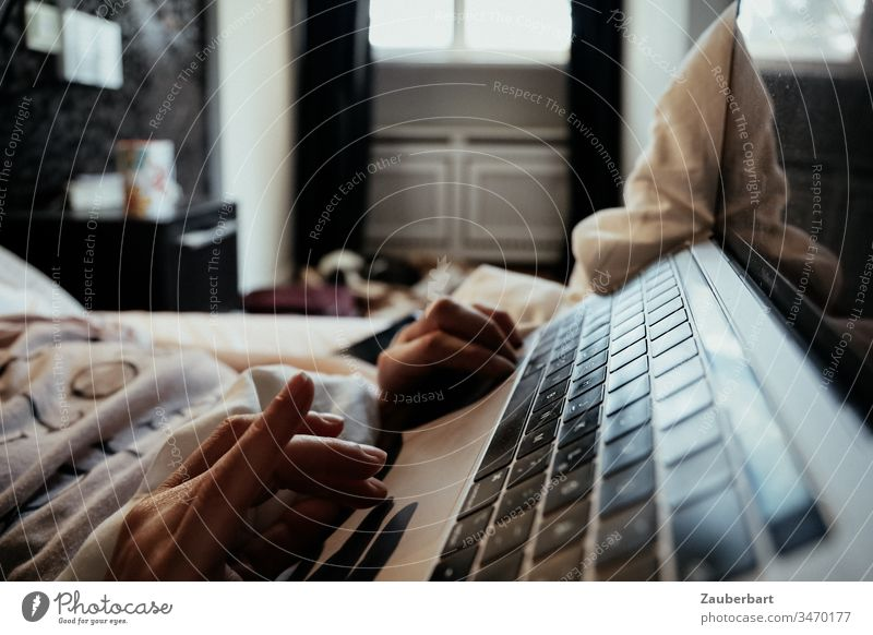 keyboard of a notebook, hand and blanket, in the morning in the bedroom Notebook Keyboard Hand Bed home office Stayhome Bedroom Morning Window Lifestyle