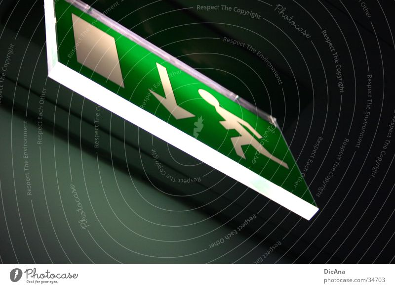 escape Emergency exit Symbols and metaphors Light Green White Man Things Sign Signage Lamp Door Running run