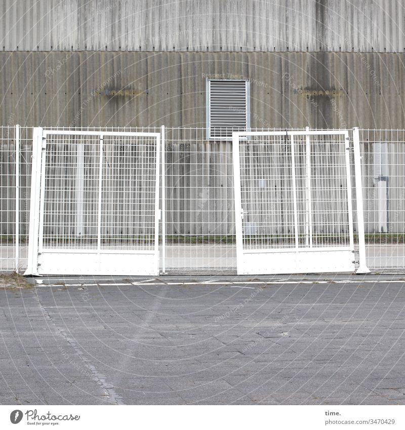 Stories from the fence (69) Fence Building Grating cordon locked too Gray Metal Places Stone Concrete Ventilation Corrugated sheet iron Gloomy boringly
