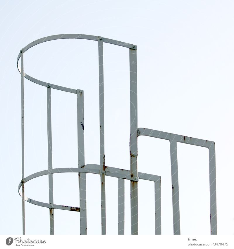 Interfaces of everyday life (2) Handrail Sky Iron Round Metal Rust Safety Protection