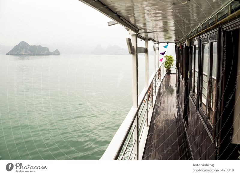 Boat trip in the Ha Long Bay, Vietnam distance wide Waves pile Halong Ha-Long Rock Stone Vacation & Travel Exterior shot Asia Halong bay Nature Ocean Landscape