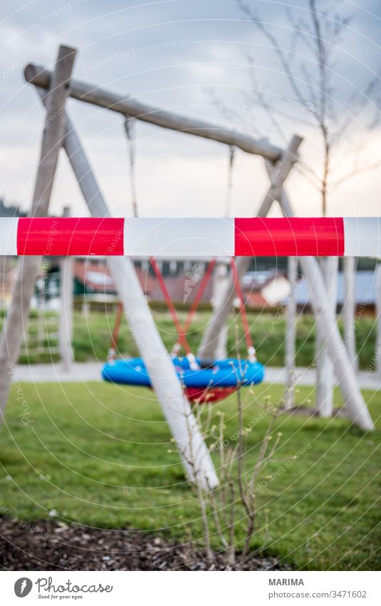 Playground closed off 2020 barrier tape Infection output lock corona coronavirus peril Measure nest swing Sars-CoV-2 Swing Protection protective measure Safety