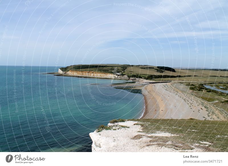 View over the beautiful landscape of the Seven Sisters Country Park in South England, UK. sea beach seven sisters country park coast water sky bay coastline