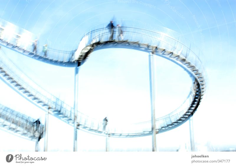 Human being Sky Blue White Joy Emotions Exceptional Glittering Fear Stairs Beautiful weather Adventure Manmade structures Steel Euphoria Tourist Attraction