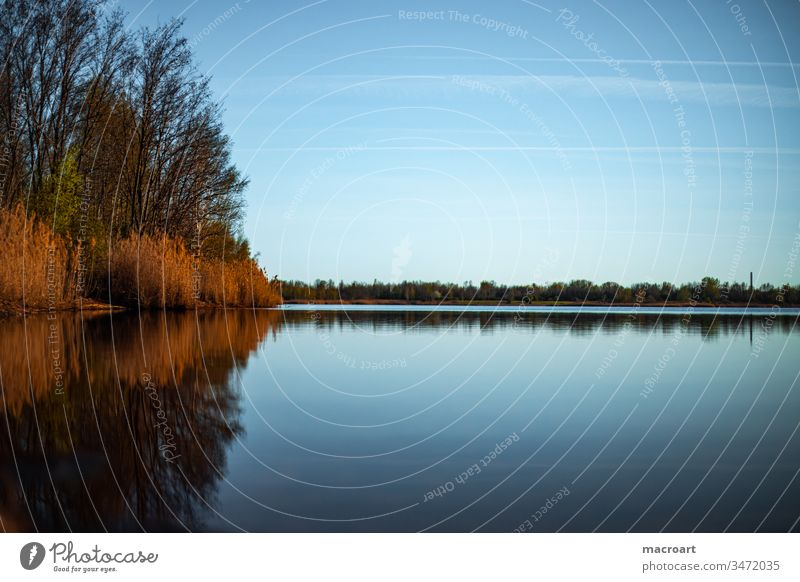 Lake Wallendorf lake wallendorf Water Body of water Evening sun sunset Sunset Sky Dusk Nature Blue Exterior shot Coast Sunrise Lakeside