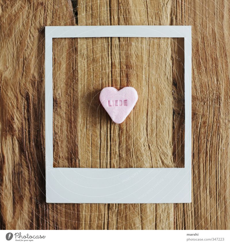 Love Food Nutrition Eating Lifestyle Style Leisure and hobbies Flat (apartment) Sign Sweet Polaroid Frame Gift Photography Candy Symbolism Wooden table Old