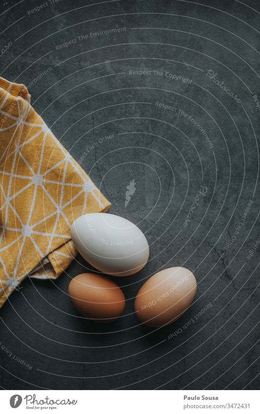 Eggs in a table Eggshell eggs Food Copy Space top Copy Space bottom Colour photo Nutrition Eggs cardboard Neutral Background Day Easter egg Organic produce
